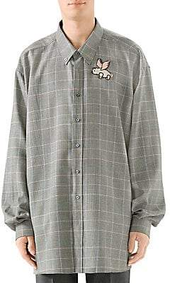 ddcdde1e4c9 Gucci Men s Oversize Prince Of Wales Check Embroidered Wool Button-Down  Shirt