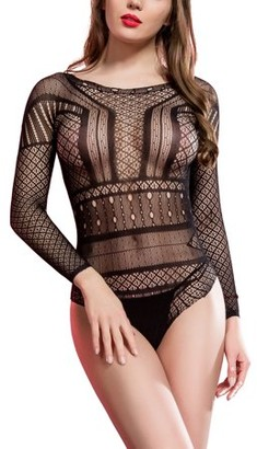 AERUSI Women's Sexy Intimate See-Through One Piece Intricate Lace Body Suit Lingerie Sleepwear