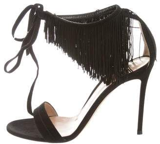 Gianvito Rossi Fringe Ankle-Tie Sandals w/ Tags