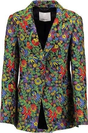 Floral-Print Cloque Blazer