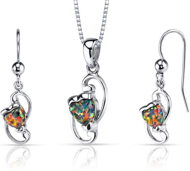 Ice 2 CT TW Lab-Created Black Opal Silver Earrings and Heart Pendant Necklace Set