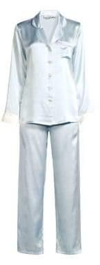 Ginia Contrast Piping Two-Piece Pajamas