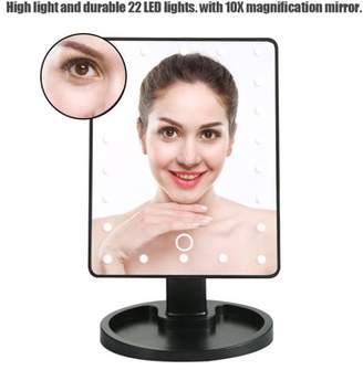 Estink LED Light Makeup Mirror, Adjustable Touch Screen 10x Magnification with 22 LED Lights TableTop Vanity Mirror