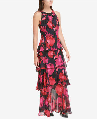 Tommy Hilfiger Printed Tiered Chiffon Maxi Dress