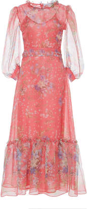 Luisa Beccaria Floral Print Silk Organza Dress Size: 38