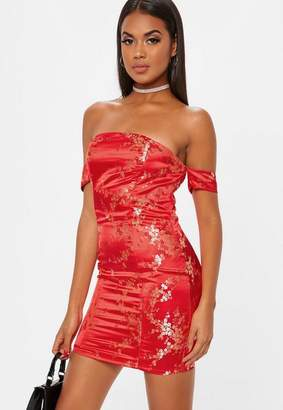 Missguided Red Oriental Print Sweetheart Bardot Mini Dress