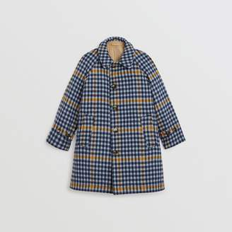 Burberry Childrens Reversible Check Wool and Cotton Car Coat