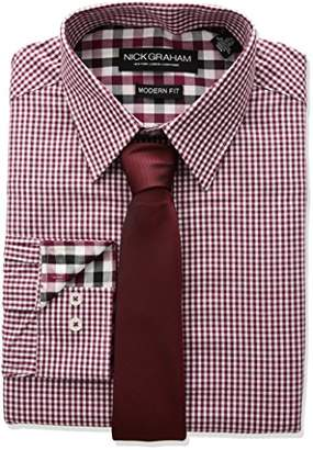 Nick Graham Men's Long Mini Gingham Check Dress Shirt with Solid Tie Set