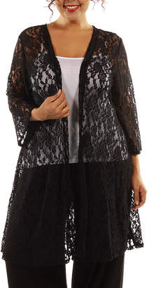 24/7 Comfort Apparel Elegant Lace Cardigan-Plus