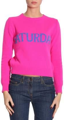 Alberta Ferretti Sweater Slim Wool Blend Sweater Rainbow Week With Saturday Lettering