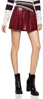 BCBGeneration Pleated Faux-Patent-Leather Mini Skirt
