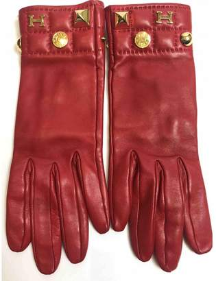 Hermes Red Leather Gloves