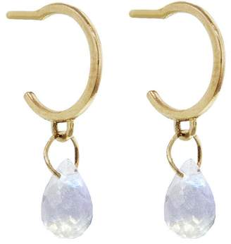 Melissa Joy Manning Tiny Rainbow Moonstone Drop Hoop Earrings - Yellow Gold