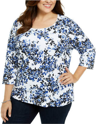 Karen Scott Plus Size Floral Scoop Neck Top