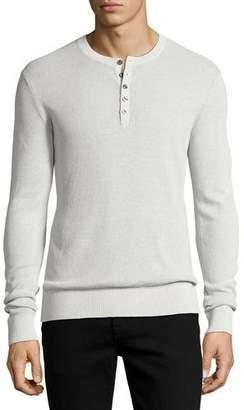 Michael Kors Linen-Cotton Waffle Henley Shirt, Gray $168 thestylecure.com