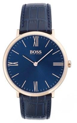 Men's Boss Ultra Slim Leather Strap Watch, 40Mm $235 thestylecure.com
