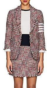 Thom Browne Women's Block-Striped Wool-Blend Tweed Two-Button Blazer - Red