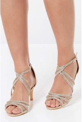 Quiz Gold Diamante Low Heel Sandals