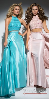 Tony Bowls Two Piece Beaded Halter Overskirt Prom Dress $439 thestylecure.com