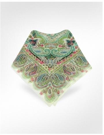 Basile Oriental Print Chiffon Silk Square Scarf