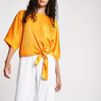 River Island Womens Orange satin knot side T-shirt