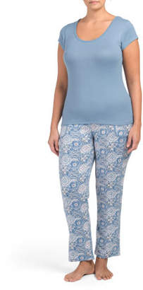Plus Tee & Slim Pants Pajama Set