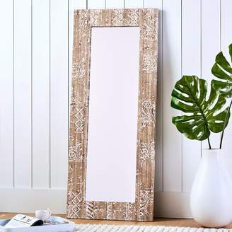Pottery Barn Teen Carved Wood Floor Leaning Mirror Washed White Wood