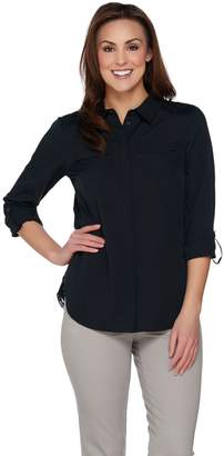 Isaac Mizrahi Live! Woven Utility Blouse with Lace Back