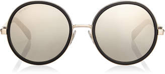 Jimmy Choo ANDIE Black Acetate Round Framed Sunglasses with Grey Silver Crystal Fabric Detailing