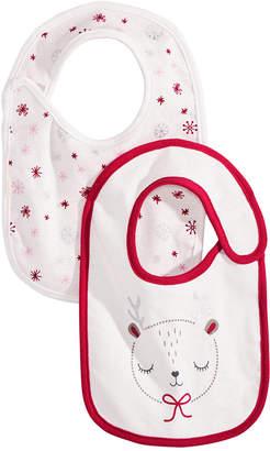 First Impressions Baby Girls 2-Pk. Reversible Reindeer & Snowman Bibs