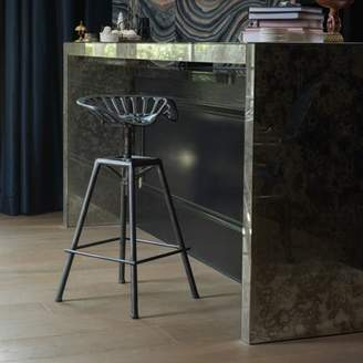 Noble House Quinn Saddle Seat Adjustable Bar Stool, Black/Silver