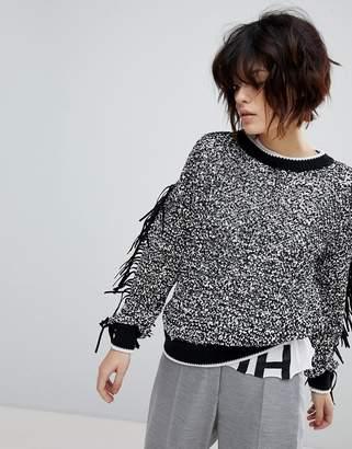 HUGO Fringed Sweater with Ribbed Trim