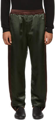 Bottega Veneta Green and Burgundy Heavy Shiny Lounge Pants