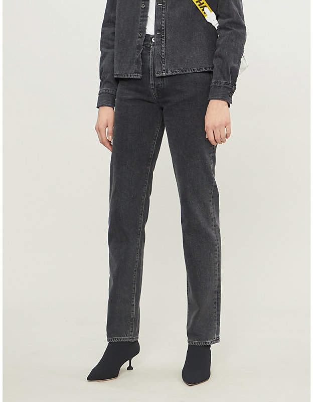 Faded high-rise relaxed-fit jeans