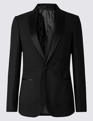 Marks and Spencer Black Textured Slim Fit Jacket