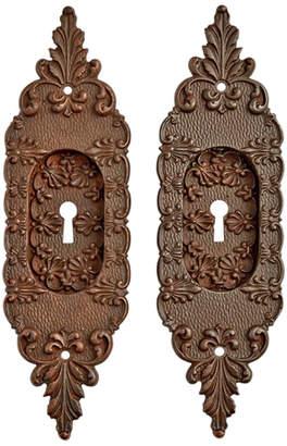 Rejuvenation Pair of Ornate Bronze Pocket Door Pulls