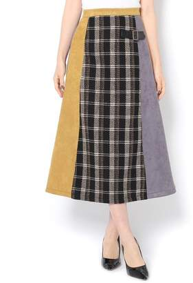 Discoat (ディスコート) - ディスコート エコスエードチェック切替スカート