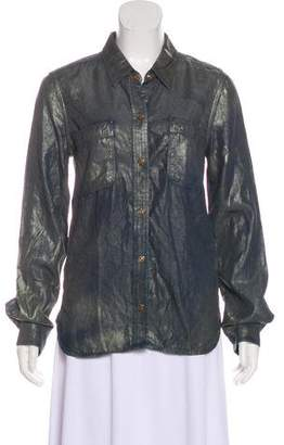 7 For All Mankind Coated Snap-Up Top w/ Tags