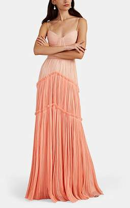 c40f8340b031d J. Mendel Women's Colorblocked Silk Plissé Cocktail Gown - Rose