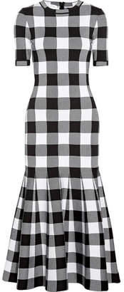 Oscar de la Renta Gingham Wool-blend Jacquard Dress - Black