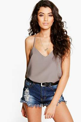 boohoo Woven Strappy Back Cami