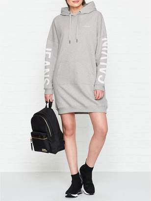 Calvin Klein Institutional Logo Hooded Sweater Dress - Grey