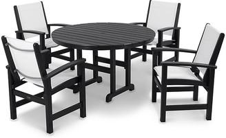 Polywood Coastal 5-Pc Round Dining Set - White/Black