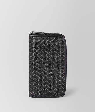 Bottega Veneta NERO METAL BRUSH CALF ZIP-AROUND WALLET
