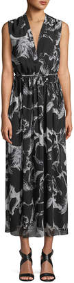 ADAM by Adam Lippes V-Neck Sleeveless Abstract-Print Long A-Line Dress