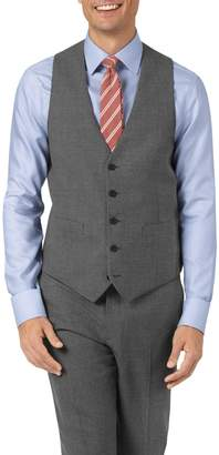 Charles Tyrwhitt Charcoal Adjustable Fit Panama Puppytooth Business Suit Wool Vest Size w38