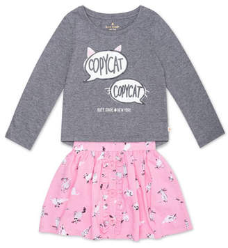Kate Spade Copycat Long-Sleeve Top W/ Cat-Print Skirt, Size 12-24 Months