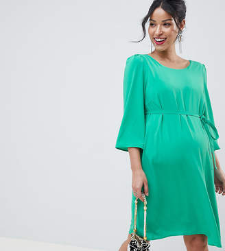 e8847a8a9be5a Mama Licious Mama.Licious Mamalicious maternity midi shift dress in green  with cross back detail