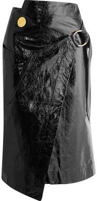 Crinkled Patent-leather Wrap Skirt - Black