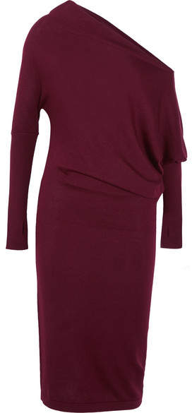TOM FORD - One-shoulder Cashmere Midi Dress - Burgundy
